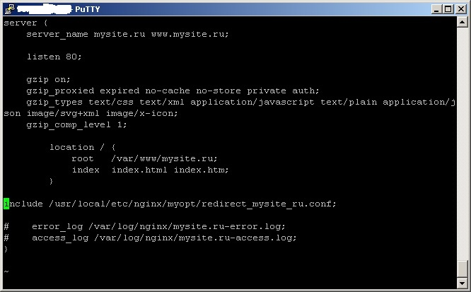 nginx_redirect_sample_ssh_console